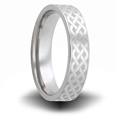 Woven Pattern Titanium 6mm Pipe Cut Ring
