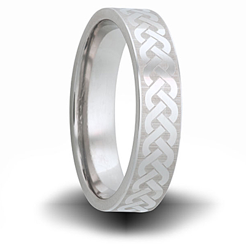 Weave Pattern Titanium 6mm Pipe Cut Ring