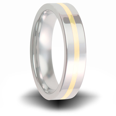 Cobalt 6mm Pipe Cut Ring with 14kt Yellow Gold Inlay