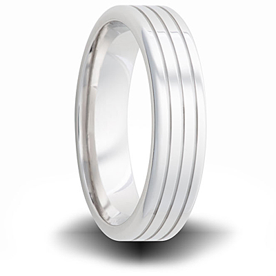 Cobalt 6mm Pipe Cut Ring with Grooves