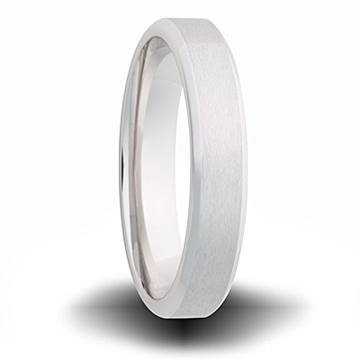 Cobalt 6mm Pipe Cut Beveled Edge Ring Brushed Finish