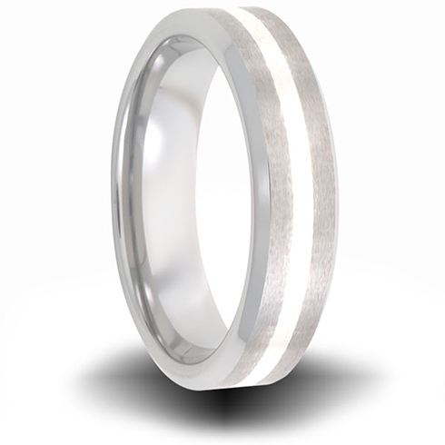 Cobalt 6mm Brushed Pipe Cut Ring with Sterling Silver Inlay