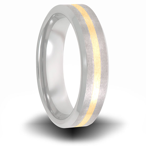 Cobalt 6mm Brushed Pipe Cut Ring with 14kt Yellow Gold Inlay