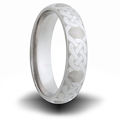 Knot Pattern Titanium 6mm Domed Ring