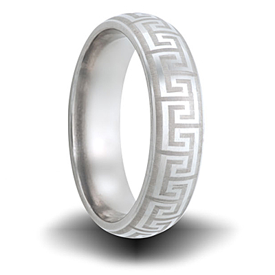 Titanium 6mm Greek Key Pattern Domed Ring