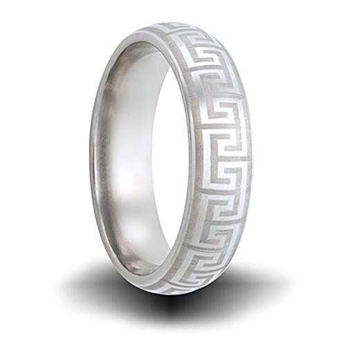 Titanium 6mm Greek Key Pattern Domed Ring