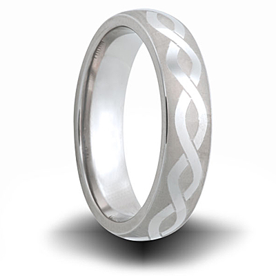 Helix Pattern Titanium 6mm Domed Ring