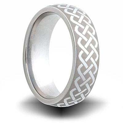 Woven Pattern Titanium 6mm Domed Ring