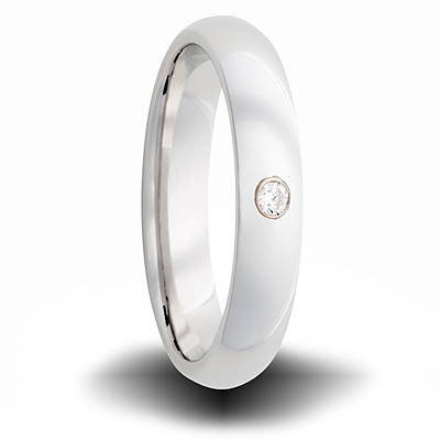 Cobalt 6mm Domed Ring with Diamond Accent