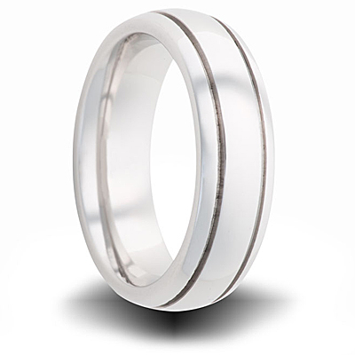 Cobalt 6mm Domed Ring with Grooves