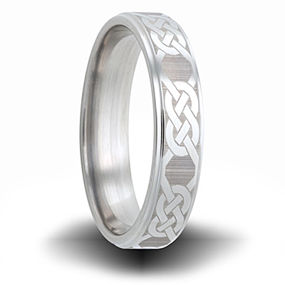 Knot Pattern Titanium 6mm Step Down Edge Ring
