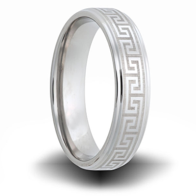 Greek Pattern Titanium 8mm Step Down Edge Ring
