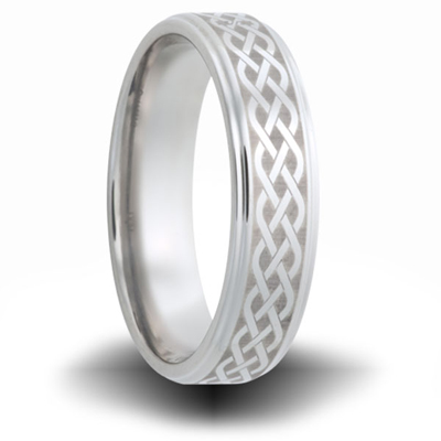 Woven Pattern Cobalt Ring with Step Down Edges 6mm