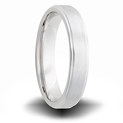 Cobalt 6mm Brushed Pipe Cut Ring with Beveled Edges