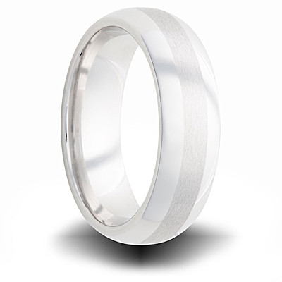 Cobalt 6mm Domed Band with Dual Finish