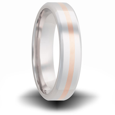 Cobalt 6mm Pipe Cut Ring with 14kt Rose Gold Inlay