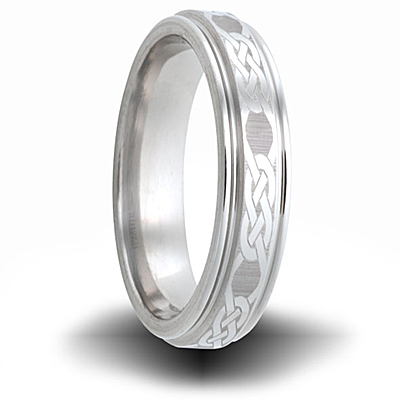 Knot Pattern Cobalt 6mm Wide Outside Groove Ring