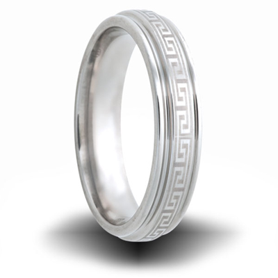 Greek Pattern Titanium 6mm Step Down Edge Ring