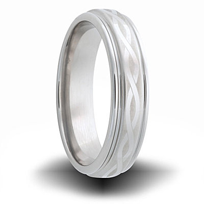 Helix Pattern Cobalt 6mm Wide Outside Groove Ring
