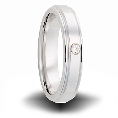Cobalt 6mm Grooved Ring with Diamond Accent