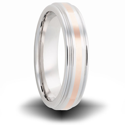 Cobalt 6mm Grooved Ring with 14kt Rose Gold Inlay