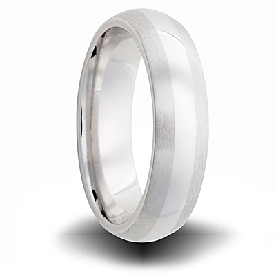 Cobalt 6mm Domed Dual Finish Wedding Band
