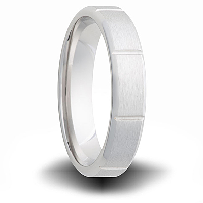 Cobalt 6mm Brushed Band with Grooves