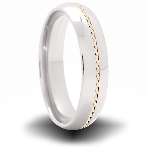 Cobalt 6mm Domed Ring with 14kt Rose Gold Inlay
