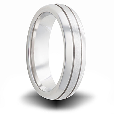 Cobalt 6mm Dual Finish Band with Grooves