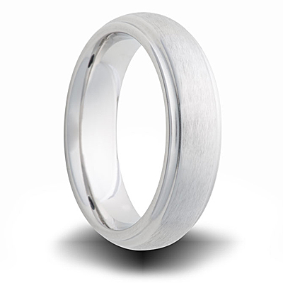 Cobalt 6mm Brushed Wedding Band with Step Down Edges