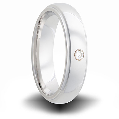 Cobalt 6mm Step Down Ring with Diamond Accent