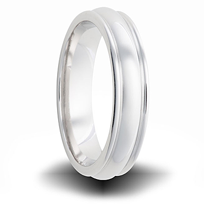 Cobalt 6mm Polished Domed Band with Ridged Edges