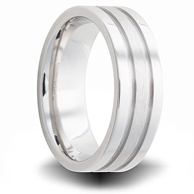 Cobalt 6mm Dual Finish Pipe Cut Wedding Band with Grooves