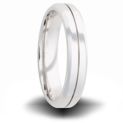 Cobalt 6mm Polished Tapered Band with Groove
