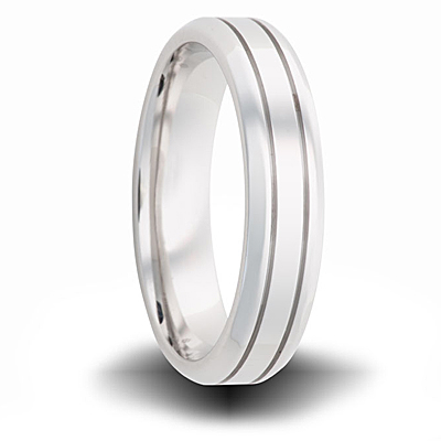 Cobalt 6mm Polished Tapered Band with Grooves