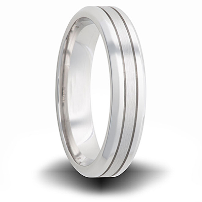 Cobalt 6mm Dual Finish Tapered Band with Grooves