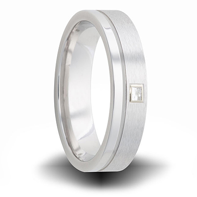 Cobalt 6mm Dual Finish Ring with Square Diamond Accent