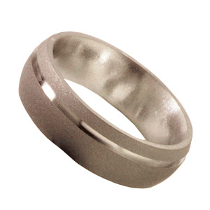 6mm Titanium Band Sandblast with Groove