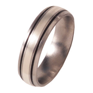Titanium 6mm Satin Domed Band with Sterling Silver Inlay