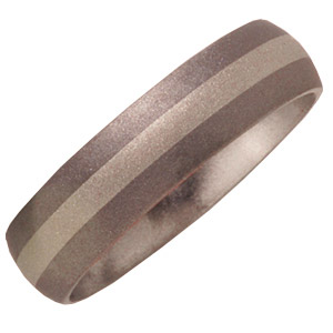 6mm Titanium Band with 14kt White Gold Inlay and Sandblast Finish