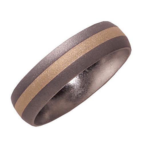 6mm Titanium Band Sandblast with 14KY Gold Inlay