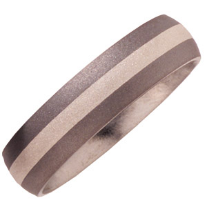 Titanium 6mm Wedding Band Sandblast with Sterling Silver Inlay