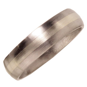 6mm Domed Titanium Band with 14kt White Gold Inlay