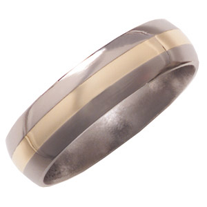 6mm Titanium Band Domed with 14K Gold Inlay