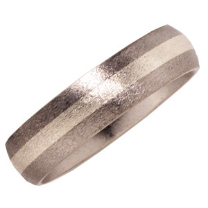 Titanium 6mm Stone Finish Wedding Band and Sterling Silver Inlay