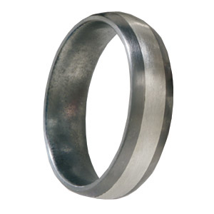 Titanium 6mm Satin Wedding Band with 3mm Sterling Silver Inlay