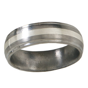 Titanium 6mm Satin Wedding Band Sterling Silver Inlay Grooved Edges