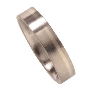 6mm Satin Titanium Band with 14kt White Gold Inlay