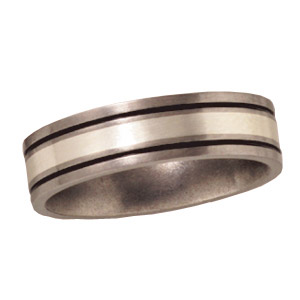 Titanium 6mm Satin Flat Wedding Band with Sterling Silver Inlay