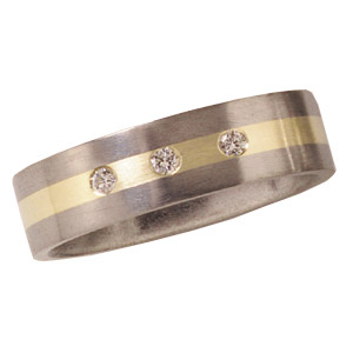 6mm Titanium Band Satin with Diamonds and 14K Gold Inlay
